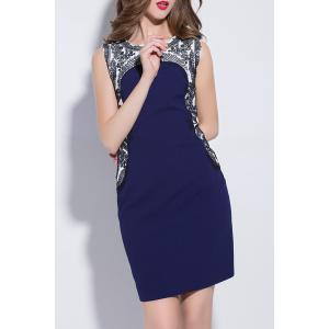 Jewel Neck Embroidered Sheath Dress -