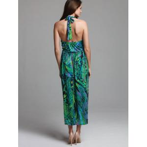 Bohemian Halterneck Peacock Print Dress For Women - GREEN ONE SIZE(FIT SIZE XS TO M)