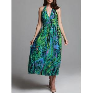 Bohemian Halterneck Peacock Print Dress For Women - Green - One Size(fit Size Xs To M)