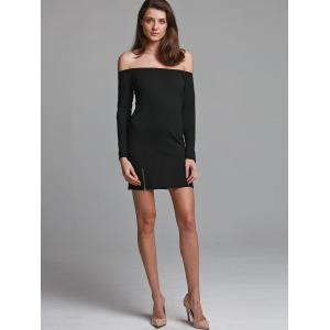 Off-The-Shoulder Zipper Plain Bodycon Dress - BLACK ONE SIZE(FIT SIZE XS TO M)