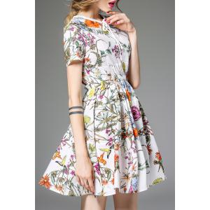 Drawstring Waisted Corset Floral Print Dress -