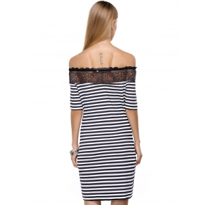 Striped Lace Splicing Off The Shoulder Short Dress - WHITE/BLACK L