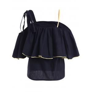 Stylish Spaghetti Strap Flounce Sleeves Top For Women -