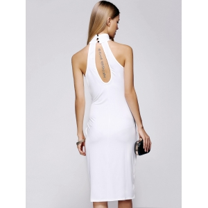 Open Back High Neck Sheath Dress -
