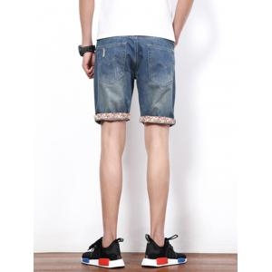 Hole Design Straight Leg Cropped Shorts For Men -