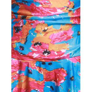 Fashion Colorful Floral Printed Halter Bodycon Flounce One-Piece Swimwear For Women -