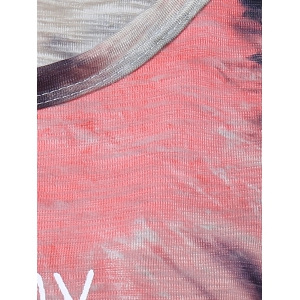 Stylish Round Neck Letter Print Tie Dye Top For Women -