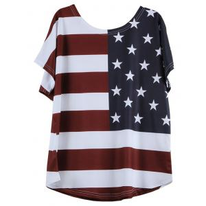 Distressed American Flag Short Sleeve T-Shirt - WHITE XL