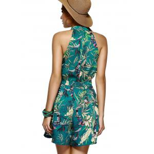 Alluring Sleeveless Plant Print Top and Wide Leg Shorts Women's Twinset -