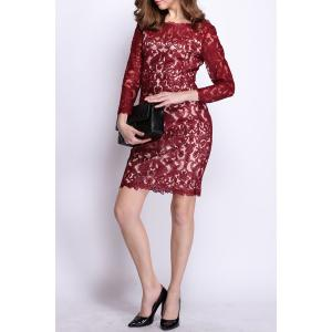 Long Sleeve Lace Embroidered Mini Dress -