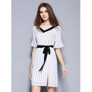 Elegant Women's Bell Sleeves Striped Mesh Patchwork Split Dress -