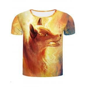 Cool Fire Fox 3D Printed Slimming Round Neck Short Sleeves T-Shirt For Men - Colormix - L