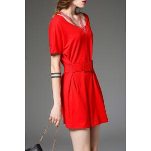 Self-Tied Solid Color Dress -