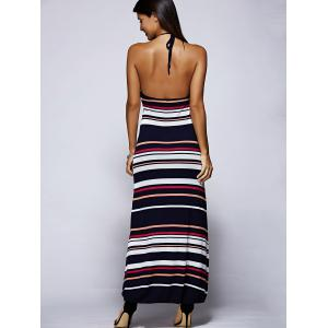 Stylish Halter Backless Striped Maxi Dress For Women -