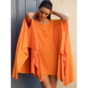 Batwing Sleeve Asymmetrical Caped Tops -