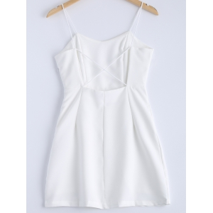 Stylish Solid Color Spaghetti Strap Backless Cross Back Minidress For Women -