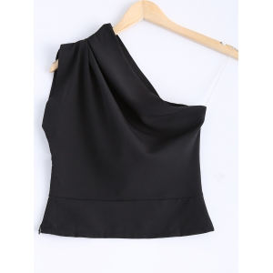 Elegant Solid Color Skew Collar One-Shoulder Crop Top For Women -
