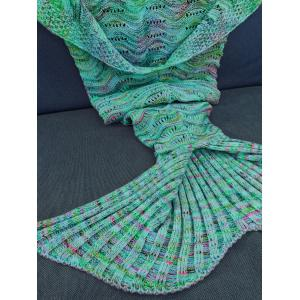Comfortable Multicolor Knitted Throw Mermaid Tail Design Blanket For Adult - GREEN