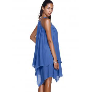 Stylish Spaghetti Strap Asymmetrical Solid Color Women's Dress -