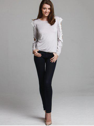 Chic Stylish Three Quarter Sleeve Scoop Neck Spliced Hollow Out Women's T-Shirt - S GRAY Mobile