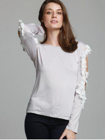 Hot Stylish Three Quarter Sleeve Scoop Neck Spliced Hollow Out Women's T-Shirt - L GRAY Mobile