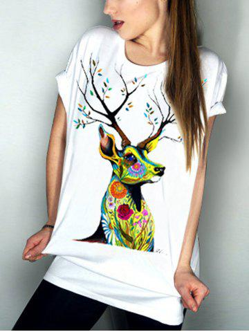 Buy Casual Short Sleeve Round Neck Elk Pattern Women's T-Shirt WHITE S