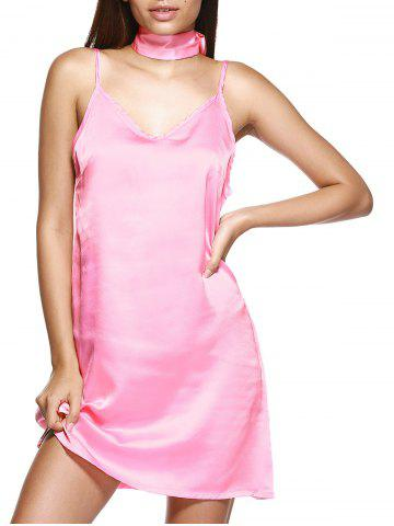 Unique V Neck Mini Slip Choker Shift Summer Dress - LIGHT PINK M Mobile