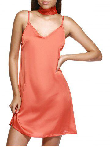 Latest V Neck Mini Slip Choker Shift Summer Dress - ORANGE XL Mobile
