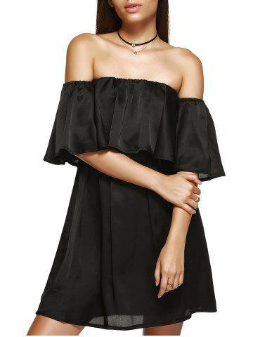 Affordable Off The Shoulder Ruffle Mini Club Dress BLACK XL