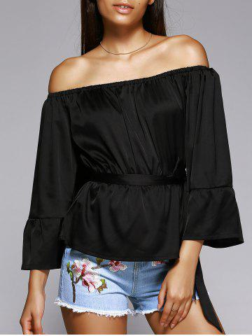 Affordable Off The Shoulder Belted Bell Sleeve Pleated Blouse