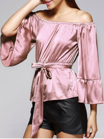 Off The Shoulder Belted Bell Sleeve Pleated Blouse - Light Pink - Xl