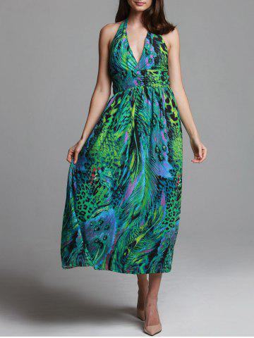 Fashion Bohemian Halterneck Peacock Print Dress For Women GREEN ONE SIZE(FIT SIZE XS TO M)