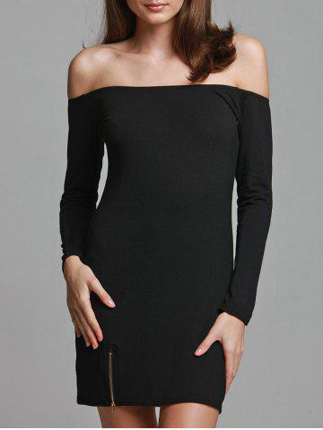 Store Off-The-Shoulder Zipper Plain Bodycon Dress BLACK ONE SIZE(FIT SIZE XS TO M)