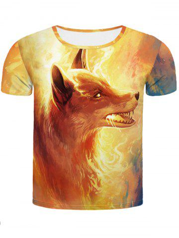Fashion Cool Fire Fox 3D Printed Slimming Round Neck Short Sleeves T-Shirt For Men COLORMIX 2XL