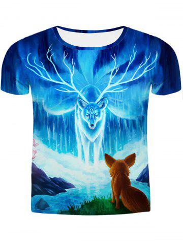 Latest Hot Sale Round Neck 3D Animal Printing Slimming Short Sleeves T-Shirt For Men COLORMIX 2XL