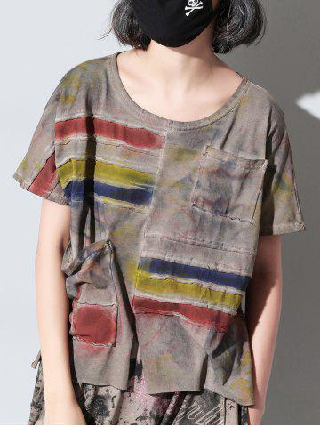 Store Fashionable Short Sleeve Tie-Dye Pocket Design Furcal Women's T-Shirt