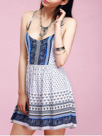 Shops Charming Spaghetti Strap Ornate Printed Criss-Cross Backless Women's Dress
