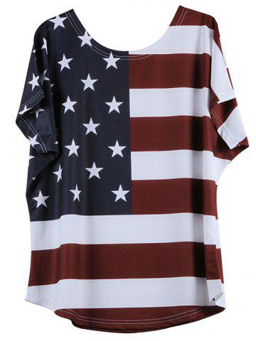 Online Distressed American Flag Short Sleeve T-Shirt - M WHITE Mobile