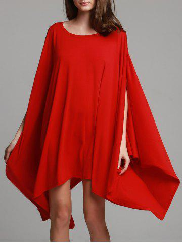 Buy Fashionable Solid Color 1/2 Batwing Sleeve Asymmetric Loose Top For Women RED XL