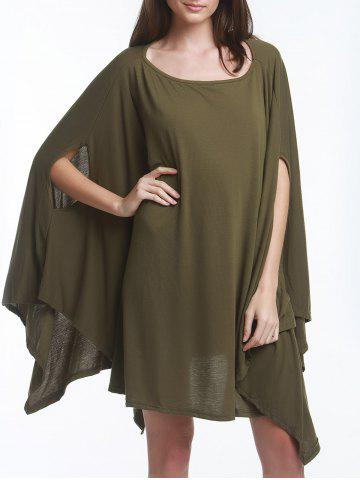 New Stylish Solid Color Half Batwing Sleeve Asymmetric Loose Top For Women