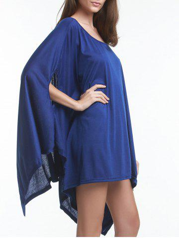 Online Trendy Solid Color 1/2 Batwing Sleeve Asymmetric Loose Top For Women