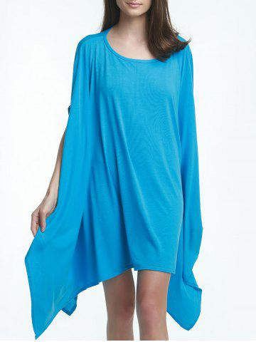 Discount Charming Solid Color 1/2 Batwing Sleeve Asymmetric Loose Top For Women