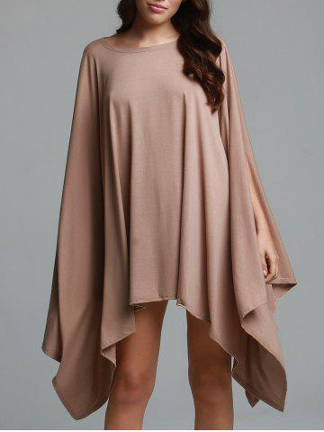 Sale Stylish Solid Color 1/2 Batwing Sleeve Loose Asymmetric Top For Women