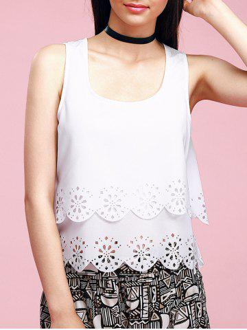 Store Trendy U-Neck Hollow Out Scalloped Backless Women's Tank Top