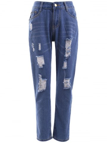Online High Waist Ripped Raw Hem Jeans