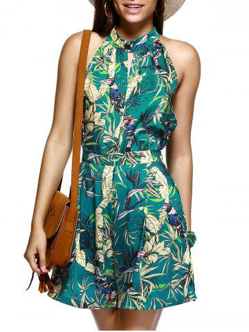 Shops Alluring Sleeveless Plant Print Top and Wide Leg Shorts Women's Twinset