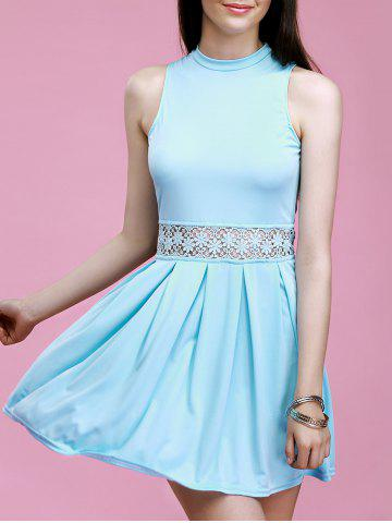 Discount Lace Spliced Hollow Out Solid Color Flare Dress