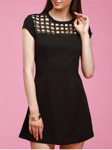 Shops Black Hollow Out Dress - XL BLACK Mobile