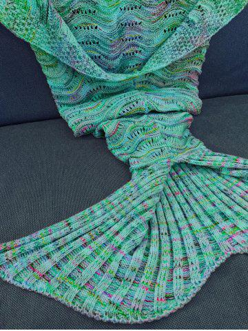 Latest Comfortable Multicolor Knitted Throw Mermaid Tail Design Blanket For Adult - GREEN  Mobile