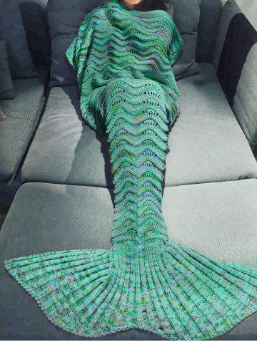Cheap Comfortable Multicolor Knitted Throw Mermaid Tail Design Blanket For Adult GREEN